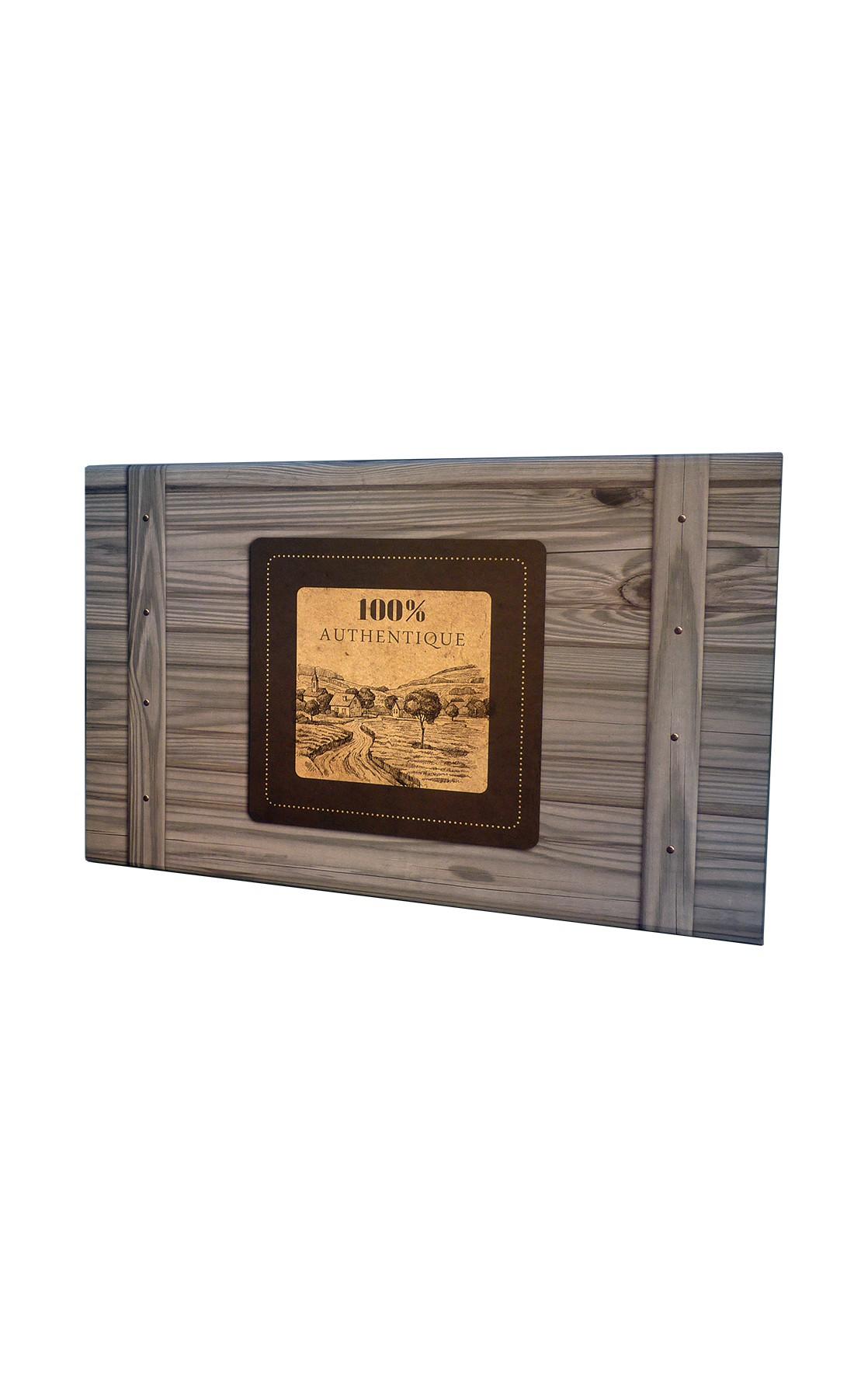 Coffret rectangle décor 100% Authentique gris 27x15x9 cm
