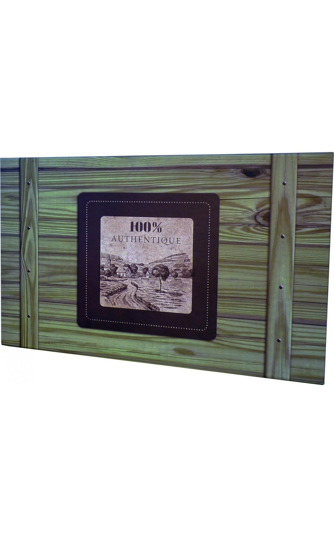 Coffret rectangle décor 100% Authentique vert 33x21x12 cm