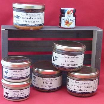 """Cagette 7 produits foie gras et terrines """"terre et mer"""""""