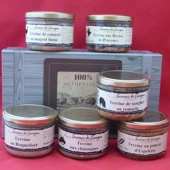 Coffret authentique 6 terrines canard, sanglier, roquefort, châtaignes, herbes, piment
