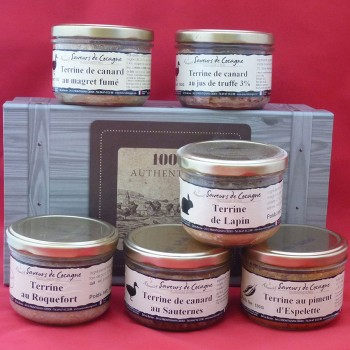 Coffret authentique 6 terrines canard, lapin, roquefort, piment