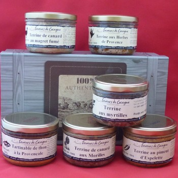 Coffret authentique 6 terrines canard, myrtilles , saumon , thon , herbes, piment
