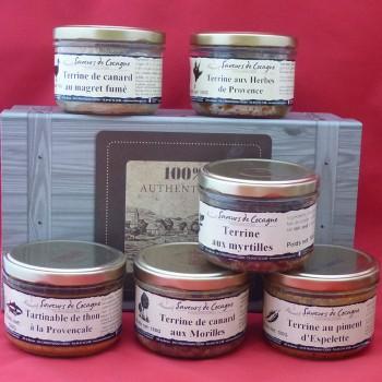 Coffret authentique 6 terrines canard, myrtilles , saumon , thon , herbes, piment