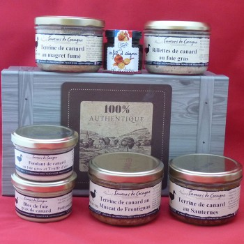 Coffret authentique 7 terrines canard, rillettes, foie gras