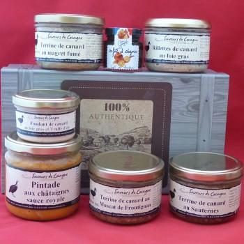 Coffret authentique 4 terrines canard, rillettes, fondant foie gras et plat cuisiné