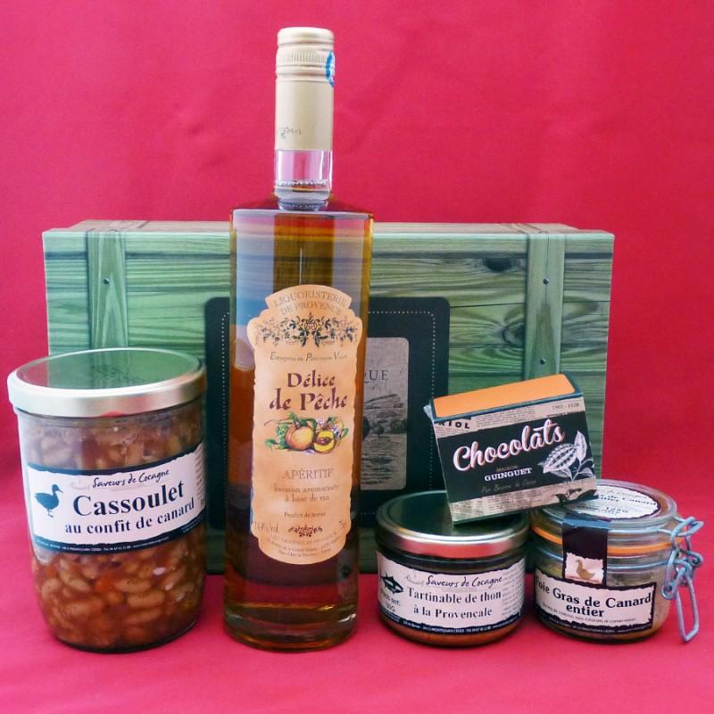 Coffret authentique apéritif pêche, foie gras entier, cassoulet, terrine et chocolats