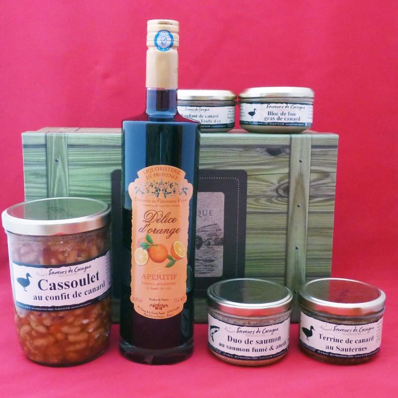 Coffret authentique apéritif orange, bloc de foie gras , cassoulet et terrines