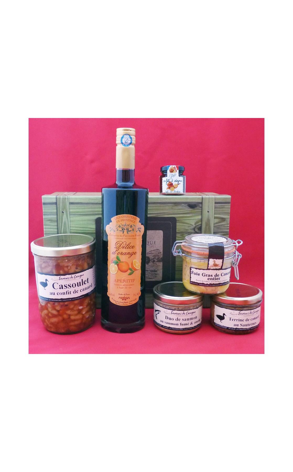 Coffret authentique apéritif orange, foie gras entier , cassoulet et terrines