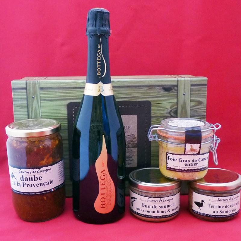 Coffret authentique apéritif pétillant, foie gras entier, daube provençale et terrines