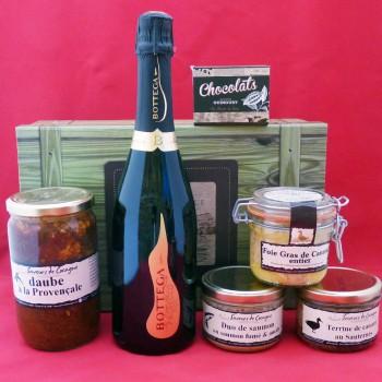 Coffret authentique apéritif pétillant, foie gras, daube provençale, terrines et chocolats