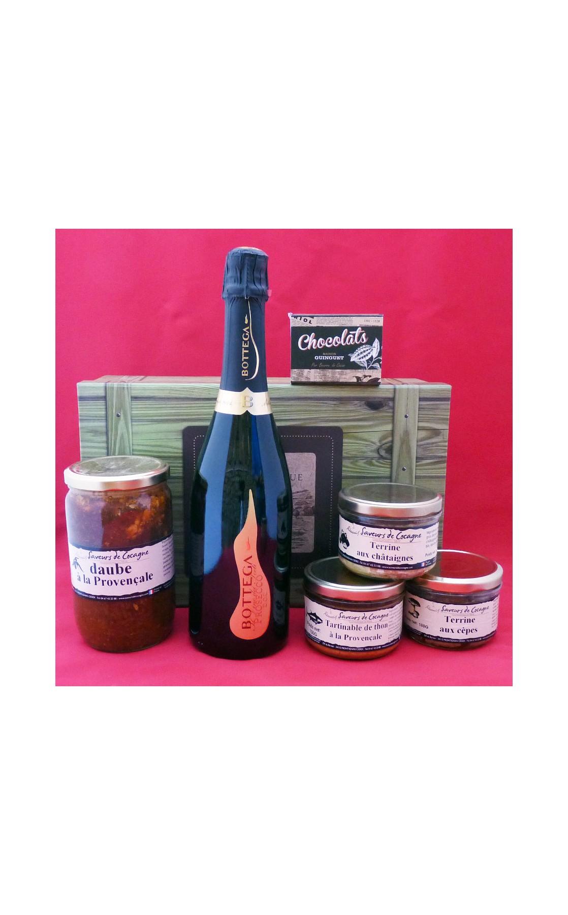 Coffret authentique apéritif pétillant, daube provençale, terrines et chocolats