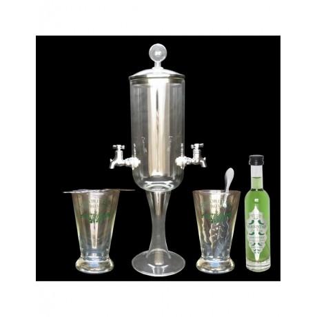 Service Petite fontaine à absinthe Bouteille Versinthe La Verte 10cl
