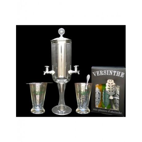 Service Petite fontaine à absinthe 2 robinets et 3x10cl