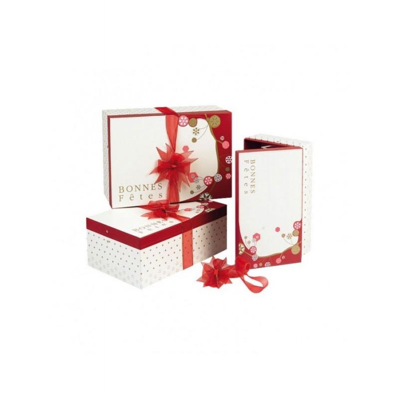 Coffret carton rectangle décor Bonnes Fêtes rouge/crème