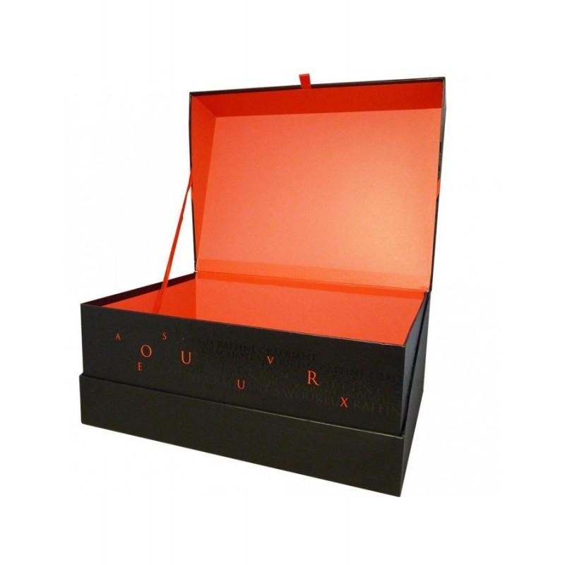 Coffret rectangle décor SAVOUREUX coloris rouge/noir