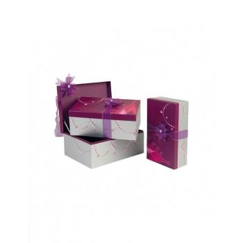 Coffret rectangle décor Bonnes Fêtes violet et argent