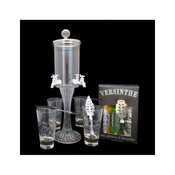 Service Fontaine à absinthe 4 robinets Coffret 3 absinthes 10cl