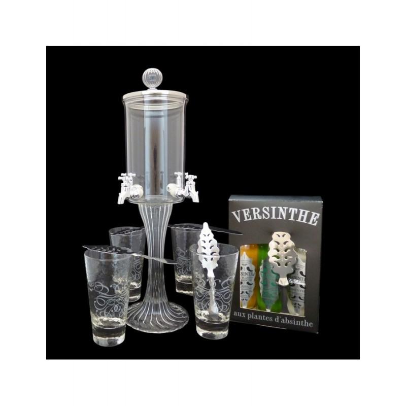 Service Fontaine à absinthe 4 robinets Coffret 3 absinthes 10cl