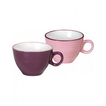 Lot de 2 tasses en céramique rose et violette