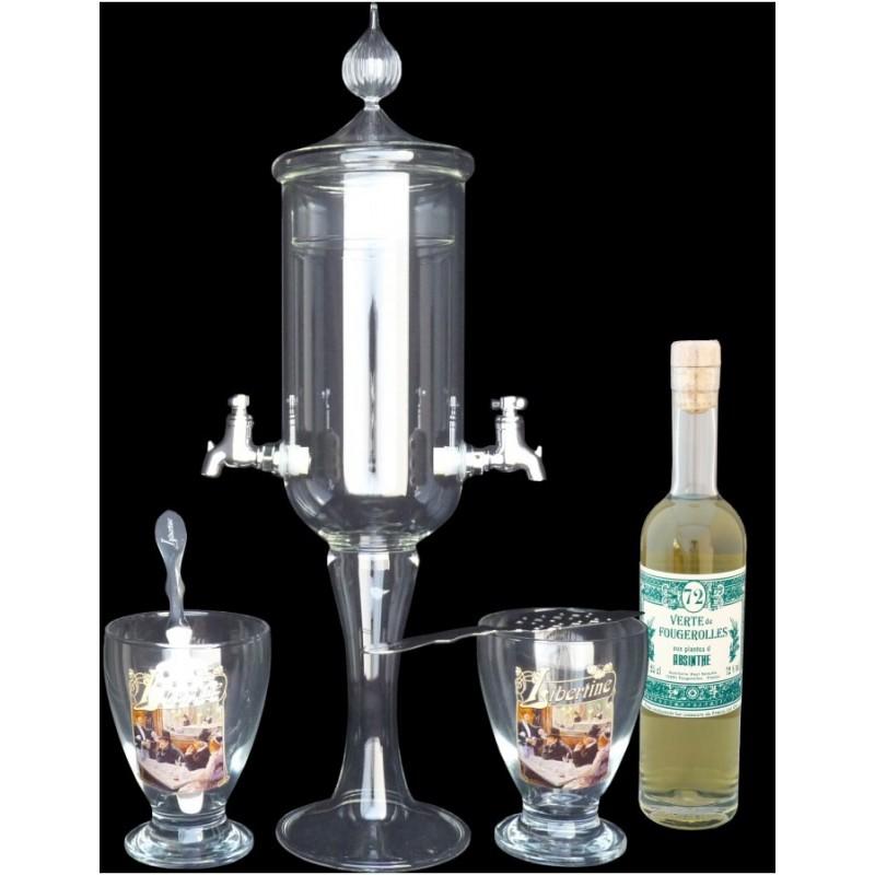 Service petite Fontaine à absinthe 2 robinets Libertine et Verte de Fougerolles 20cl