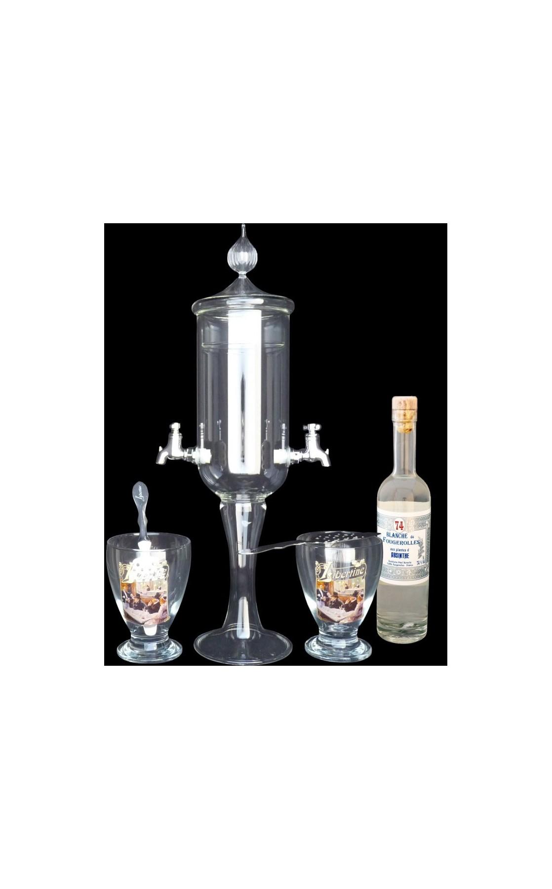 Service petite Fontaine à absinthe 2 robinets Libertine et Blanche de Fougerolles 20cl
